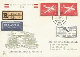Österreich: Brief 1958 Mit Nr. 2x1041: AUA-Erstflug Wien-Rom 1958 #H50 - AUA-Erstflüge