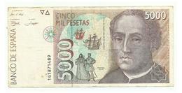 SPAIN - 5000 Pesetas - 12 De Octubre 1992 - Cristobal Colon - USED - [ 4] 1975-… : Juan Carlos I