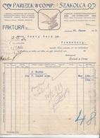 RECHNUNG (datiert Szakolca 1919) Der Firma PARIZEK & COMP. SZAKOLCA, Dok., A3 Format, Gefaltet, Gelocht - Autriche