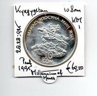 KYRGYZSTAN 10 SOM 1995 ZILVER PROOF MILLENNIUM OF MARAS - Kirguistán