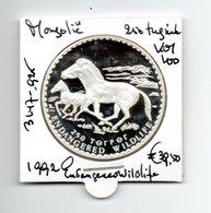 MONGOLIE 250 TUGRIK 1992 ZILVER PROOF ENDANGERED WILDLIFE HORSES - Mongolia