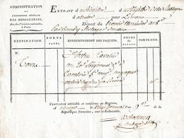 Germinal An 9 (1801) ALENÇON - MESSAGERIES Citoyen HETRU, Cavalier Au 20° Régt. De Cavalerie 5° Cie - Documents Historiques