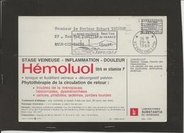 M46 CARTE POSTALE PUBLICITAIRE PORT PAYER LABORATOIRE PHARMACEUTIQUE HEMOLUOL VERSO COQUELICOT - Marcophilie (Lettres)