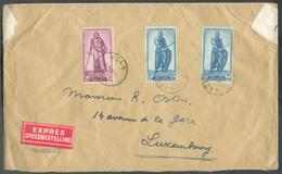 1Fr50 (Godefroid De BOUILLON) + 3Fr50 (RObert De JERUSALEM) (x2) Obl. Sc LIEGE Sur Lettre Exprès (Etiq.) Du 2-10-1946 Ve - Lettres & Documents