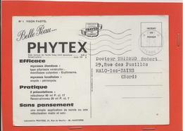 M46 CARTE POSTALE PUBLICITAIRE PORT PAYER LABORATOIRE PHARMACEUTIQUE PHYTEX VERSO VISON PASTEL - Marcophilie (Lettres)