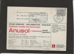 M46 CARTE POSTALE PUBLICITAIRE PORT PAYER LABORATOIRE PHARMACEUTIQUE ANUSOL VERSO COLCHIQUE - Marcophilie (Lettres)