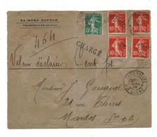 Fragment Lettre Semeuse Camée Recommandé CHARGE Fougerolles Haute Saone Pour Mantes 11-04-1908 - 1877-1920: Semi Modern Period