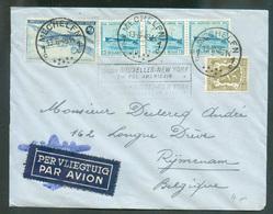 Lettre Par Avion Affr. Ostende-Douvres/Douglas/Lion à 10Fr15 Obl. Sc MECHELEN 1 Du 13-6-1946 Vers Rijmenam + Griffe LIAI - Luchtpost