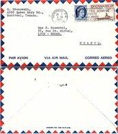 CANADA - COVER MONTREAL 25.1.1957 TO LYON FRANCE / 2 - 1952-.... Règne D'Elizabeth II