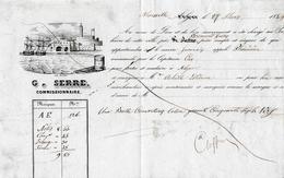 """1849 MARSEILLE-ALGER - Connaiss Navire """"Phénicien"""" - Une Balle Couvertures Coton - G. SERRE Commissionnaire - Documents Historiques"""