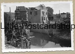 Foto Jodoigne Brücke Stadt Nach Bombardement Trümmer Deutsche Soldaten Bauen Behelfsbrücke Pont WW2 Pi. Btl. 50 - Guerre 1939-45