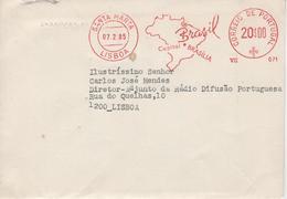 Cover EMBAIXADA DO BRASIL   , Mechanical Meter , Santa Marta Postmark , EMA , Brazil Map , Letter Inside - Storia Postale