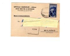 P0550 STORIA POSTALE SERVIZIO NOTIFICAZIONE ATTI GIUDIZIARI ITALIA AL LAVORO L. 55 ISOLATO 24-9-1957 - 6. 1946-.. Repubblica