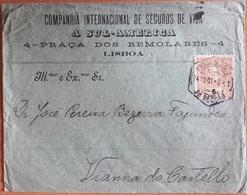 Portugal - COVER - Stamp: 5 Reis D. Carlos I (1901) - Cancel: Lisboa - SEGUROS DE VIDA A SUL-AMERICA (insurances) - Briefe U. Dokumente