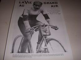 CYCLISME COUPURE LIVRE T078 TdF1906 René POTTIER La UNE De La VIE Au GRAND AIR - Sport