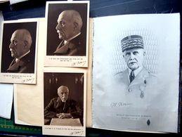 MARECHAL PETAIN GUERRE DE 1940 PORTRAIT TISSE SUR SOIE HOMMAGE DES FABRICANTS SOIERIES DE LYON  24 X 18 CM - Documents Historiques