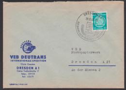 DEUTRANS Int. Spedition Dresden 20.2.59 Dienstpostbrief SoSt. 50 Jahre Gewerkschaft Land Und Forst - DDR