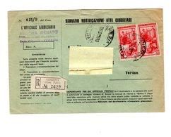 P0556 STORIA POSTALE SERVIZIO NOTIFICAZIONE ATTI GIUDIZIARI ITALIA AL LAVORO COPPIA L.60 PURI 26-3-1955 - 6. 1946-.. Repubblica