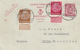 DDW727 - Entier Postal REPONSE Petit Sceau 1 F + TP Allemagne BORNA (Leipzig) 1937 Vers UCCLE BXL - Postcards [1934-51]