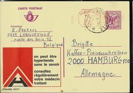 Publibel Obl. N° 2627 + P. 017 ( Hypertension, Consultez Votre Medecin) Obl. Longueville  (rurale) 1976 - Cachets à étoiles