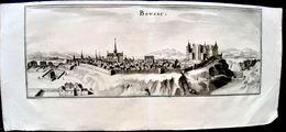 23 BOUSSAC GRAVURE VUE PANORAMIQUE DE LA VILLE AU 17° SIECLE VERS 1650  33 X 13 CM - Boussac