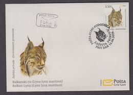 4.- MONTENEGRO 2019 FDC  Environment Protection- Balkan Lynx - Big Cats (cats Of Prey)