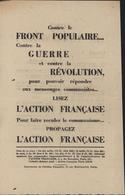 Tract Action Française Anti Communisme Avant Seconde Guerre Mondiale Contre Front Populaire Contre Guerre Et Révolution - Publicités