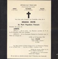 Tract Parti Populaire Français Forme Enveloppe Deuil Anti Communisme RF Prochainement Soviétique 1936 Signé Staline Lyon - Publicités