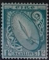 IRLANDE ETAT LIBRE N° 51 COTE 25 € NEUF * MH  1 S Bleu Vert GLAIVE DE LUMIERE 1922- 1924 - 1922-37 Stato Libero D'Irlanda