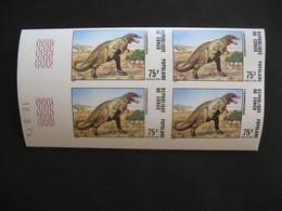 Bloc De 4 Coin Daté Non Dentelé Neuf ** MNH  - Imperf   Dinosaures Animaux Préhistoriques Congo N°402 - Congo - Brazzaville