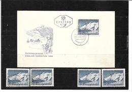 6042e: Österreich 1957, Himalaya- Expedition, Beleg Und 4 Postfrische/ Gestempelte Briefmarken - Bergsteigen