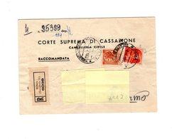 P0599 STORIA POSTALE SERVIZIO NOTIFICAZIONE ATTI GIUDIZIARI CORTE CASSAZIONE SIRACUSANA L. 80 + MICHELANGIOLESCA L. 10 - 1961-70: Marcofilia