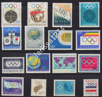 Yugoslavia 1968 - 1992 Surcharge All Issues Of Olympic Commette MNH - Portomarken