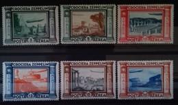 ITALIE POSTE AERIENNE N° 42 à 47 COTE 120 € NEUFS * MH  SERIE COMPLETE DE 6 VALEURS 1933 VOYAGE DE GRAF ZEPPELIN - Correo Aéreo