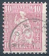 Sitzende Helvetia 38, 10 Rp.hellanilin  MONTHEY        Ca. 1875 - 1862-1881 Sitzende Helvetia (gezähnt)