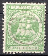 GUYANE BRITANNIQUE - 1863-75 - N° 31aA - 24 C. Vert - (Millésime : 1863) - (Dentelé 12x13) - Guyana Britannica (...-1966)