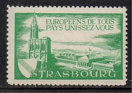 ERINNOPHILIE - STRASBOURG - ALSACE / ANNEES 50 - VIGNETTE PRO EUROPEENNE (ref 7183e) - Erinnophilie