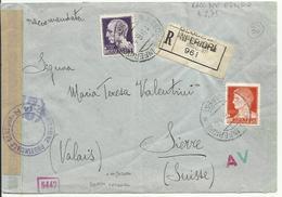 RSC11-Raccomandata Per La Svizzera Con 1 + 1,75 £ Imperiale 19.6.1944 - Fascetta E Bolli Di Censura - 4. 1944-45 Repubblica Sociale