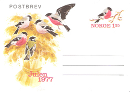 Norway 1977 Post Letter Imprinted Stamp For Christmas 1977, Bird, Eurasian Bullfinch, Pyrrhula Pyrrhula, Unused - Lettres & Documents