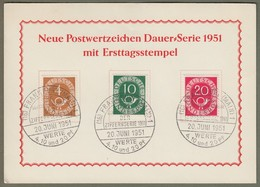 """Bund: Sonderkarte Mi-Nr. 124, 128 U. 130 ESST: """" Neue Posthorn - Dauerserie Mit ESST ! """"      X - Oblitérés"""