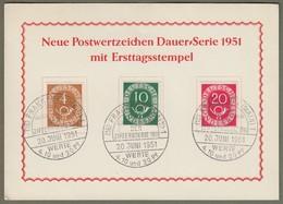 "Bund: Sonderkarte Mi-Nr. 124, 128 U. 130 ESST: "" Neue Posthorn - Dauerserie Mit ESST ! ""      X - [7] Repubblica Federale"