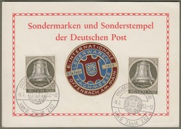 """Berlin: Sonderkarte, 2x Mi-Nr. 82 Glocke Rechts SST: """" Lederwaren-Fachmesse, Offenbach 1952 """" !   X - Berlin (West)"""