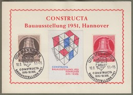 "Berlin: Sonderkarte, Mi-Nr. 75 U. 77 Glocke Links SST: "" Constructa  Bauausstellung 1951 "" !   X - Berlin (West)"