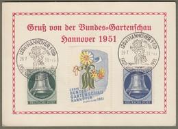 "Berlin: Sonderkarte, Mi-Nr. 76 U. 78 Glocke Links SST: "" Bundesgartenschau Hannover 1951 "" !   X - Gebraucht"