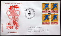 Denmark 1984 Olympische Spiele / Olympic Games  MiNr.801  FDC  ( Lot Ks)FOGHS COVER - FDC