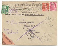 GANDON 5F AYANT SERVI DE TIMBRE TAXE LINEAIRE TAXES 1946 / LETTRE RECOMMANDEE AVEC LE BORDEREAU DE DECLARATION DE DEPOT - Marcophilie (Lettres)