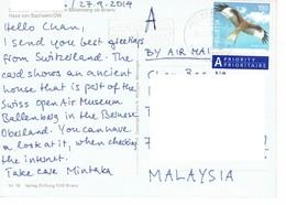 29C : Switzerland Eagle, Hawk, Bird Of Prey Stamp Used On Postcard - Brieven En Documenten