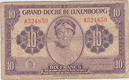Luxembourg - Billet De 10 Francs - Grande-Duchesse Charlotte - Non Daté (1944) - P44 - Lussemburgo