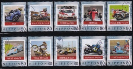 Japan Personalized Stamp, Honda Motorbike Racing Car 10 Stamps (jpv0730) Used, 10 Stamps - Oblitérés