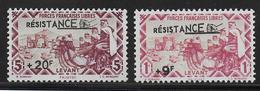 LEVANT - FRANCE LIBRE - YVERT N°51/52 * MLH  - COTE YVERT = 30 EURO - - Levant (1885-1946)